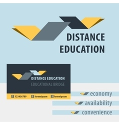 Distance education the study of the logo vector