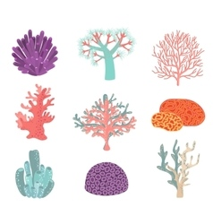Set of underwater color coral icons vector