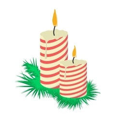 Cartoon candles on tree branch vector