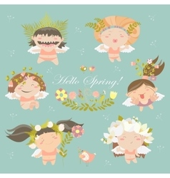 Set of cute spring angels vector