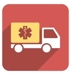 Medical shipment flat rounded square icon with vector