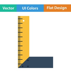 Flat design icon of setsquare vector