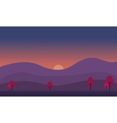 At sunrise hill scenery of silhouette vector