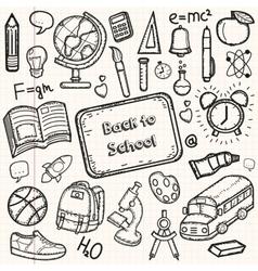 Back to school doodle set hand draw school items vector