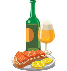 beer with salmon sandwich vector image vector image