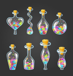 Big set of bottle elixir with gems vector
