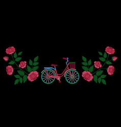 Bike and roses embroidery pattern vector