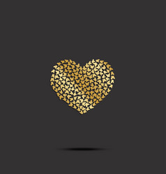 butterflies from gold heart on black background vector image