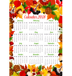 calendar 2018 template with autumn nature frame vector image