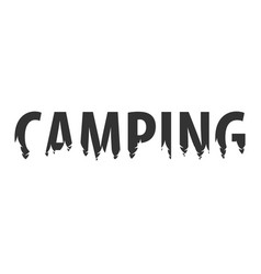 Camping text or labels with silhouette of forest vector