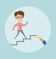 Caucasian employee running up the career ladder vector