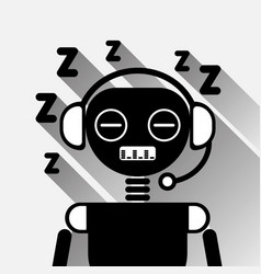 Chatbot tired sleep icon concept black chat bot or vector