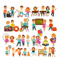 Children in school or kindergarten outdoor vector