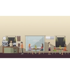 Coffee cafe concept in flat vector