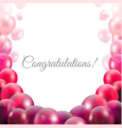 congratulations card with pink balloons vector image vector image
