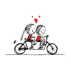 Couple cycling together valentine sketch for your vector image vector image
