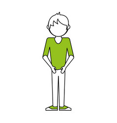 faceless man wearing t shirt icon image vector image
