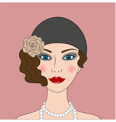 Flapper girl retro 20s-30s style portrait vector