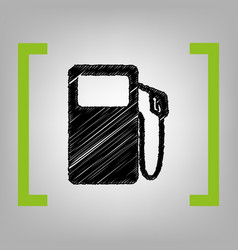 gas pump sign black scribble icon in vector image