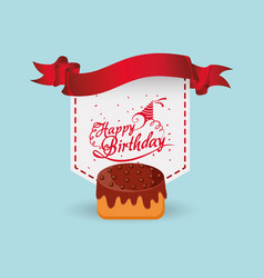 Happy birthday cake ribbon label vector