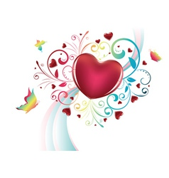Heart with Floral and Butterflies vector image vector image