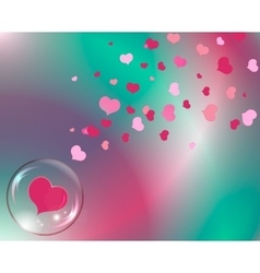 hearts and bubble with reflections colored vector image vector image