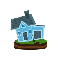 House after an earthquake property insurance vector