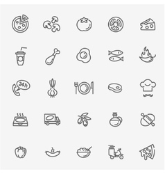 Italian traditional pizza - web icons set vector image