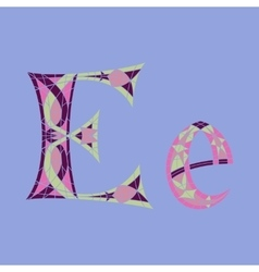 Low poly letter e in colored mosaic polygon vector
