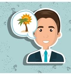 man tourist travel beach vacation vector image