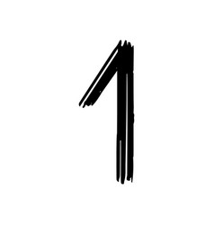 number 1 painted by brush vector image vector image