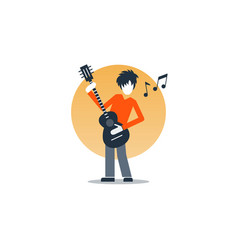 Person playing guitar music entertainment live vector