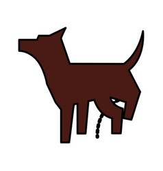 Pet dog peeing mascot silhouette vector