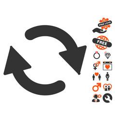 refresh icon with love bonus vector image vector image