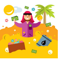 Rich man from the uae success arabic vector