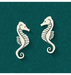 seahorse marine background vector image vector image