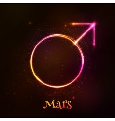 Shining neon light mars astrological symbol vector