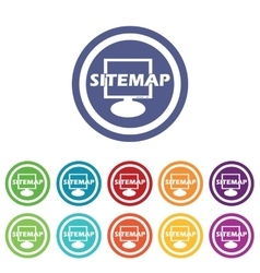 Sitemap signs colored set vector