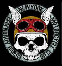 skull t shirt motorcycle graphic design vector image vector image