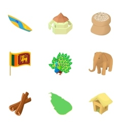 Tourism in sri lanka icons set cartoon style vector