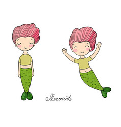 Two little cartoon mermaids funny twins siren vector