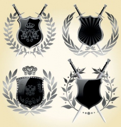 Vector shields laurel wreaths vector