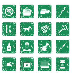 veterinary icons set grunge vector image vector image