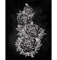 Vintage floral hand drawn rose flower stem vector