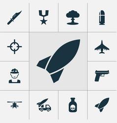 warfare icons set collection of slug aircraft vector image vector image