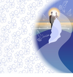 White background with bridegroom bride pigeons vector image vector image
