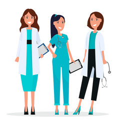 women team of three pretty smiling doctors flat vector image vector image