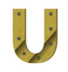 wood letter U vector image