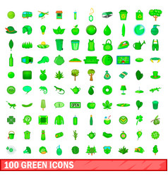 100 green icons set cartoon style vector