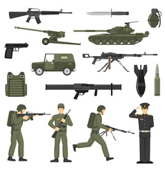 Military army khaki color icons collecton vector